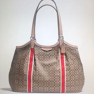 COACH SIGNATURE STRIPE 6CM DEVIN SHOULDER BAG